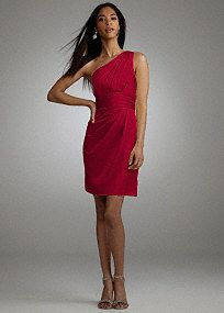 This one shoulder satin dress is modern and chic, perfect the fashion-forward bridesmaid. One shoulder bodice is on trend and pleated detail adds a fresh update. Ruched waist is flattering on any figure. Slim skirt features draping detail for added dimension. Fully lined. Back zip. Imported polyester. Hand wash or dry clean. Select colors are on sale. Please click color and size to view pricingTight decorative gathers which create flattering pleats in the fabric.A smooth fabric often used in…