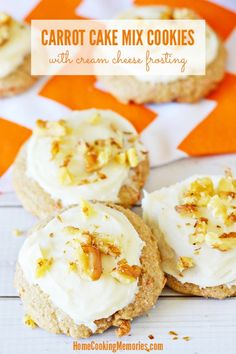 Make easy cookies from a boxed cake mix! These Carrot Cake Mix Cookies are made with your favorite boxed carrot cake mix. This easy recipe also includes a homemade Cream Cheese Frosting to make them even better.