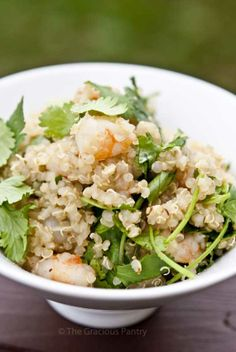 quinoa garlic shrimp & cilantro salad
