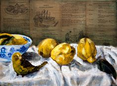 """""""Yellow Bird"""" Original Mixed Media still life painting by Australian artist, Gaye White.  Using a collage base of old cookbooks then finishing the still life arrangement with oils.  Prints available through Fine Art America  http://gayewhite.artistwebsites.com/featured/yellow-bird-gaye-white.html"""