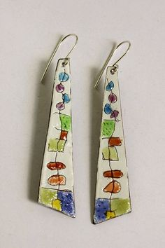 Copper+Enamel+and+Sterling+Silver+Earrings+by+SuzanneLoveJewelry