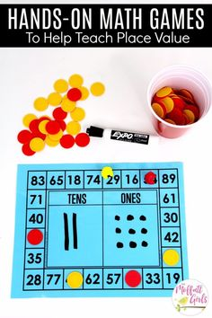 Build a Number: This fun Grade Math activity helps students understand place values and the meaning of a number in a hands-on way! Place Value Math Games, Math Fraction Games, 1st Grade Math Games, First Grade Math, Third Grade, Grade 2, Teaching Place Values, Teaching Math, Kindergarten Math