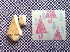 umbrella and rain drop rubber stamp - hand carved rubber stamp. handmade rubber stamp. set of 2. $9,00, via Etsy.