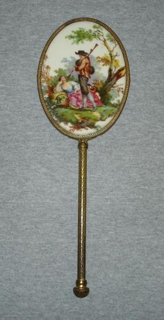 Antique Victorian Porcelain Portrait Hand Mirror.