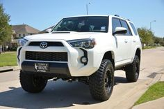 2017 Toyota row with TRD Pro Front end Lifted 4runner, 2017 Toyota 4runner Sr5, Toyota 4x4, Toyota Trucks, Toyota Tacoma, 4 Runner, My Dream Car, Dream Cars, Cars