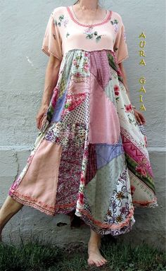 AuraGaia ~Rosalie~ Poorgirl's Boho Upcycled Patchy Garden Dress fits S-XL | Clothing, Shoes & Accessories, Women's Clothing, Dresses | eBay!