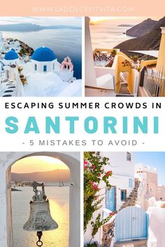 Santorini is an absolute dream! However it is popular! To not get stuck in a sea of crowds, check out these 5 must-knows to help you plan an uncrowded stress-free vacation. #santorini #greekislands #greecevacation | Greece Island Hopping | Travel to Greece | Weekend in Santorini | 3 Days in Santorini | 4 Days in Santorini | Kamari | Santorini Itinerary | Best things to do in Santorini | Where to Stay in Santorini | Santorini Hotels | Oia and Fira | Santorini Guide | Santorini Travel Tips | Kamari Santorini, Santorini Hotels, Santorini Travel, Greece Travel, Europe Travel Guide, Europe Destinations, Travel Guides, Free Vacations, Summer Travel