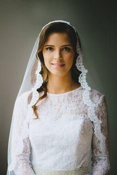 Bride in a lace manta cathedral veil in a vintage lace dress // Alex & Julia // Seattle WEDDING · Jessi Livak Photography www.jessilivak.com