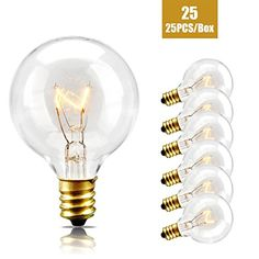 Replacement Bulbs For String Lights New 25 Pack  Clear G40 Globe Light Bulbs For Patio String Lights Fits 2018