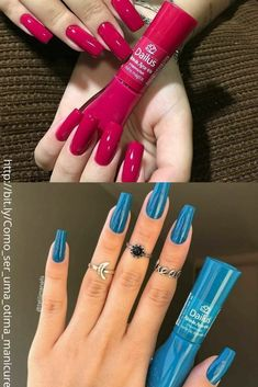Essie Nail Polish Colors, Cute Nail Polish, Nail Colors, Aycrlic Nails, Blue Nails, Manicure And Pedicure, Almond Acrylic Nails, Best Acrylic Nails, Stylish Nails