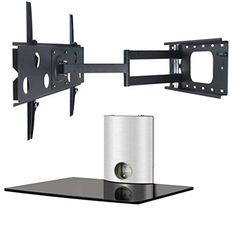 cool 2xhome - NEW TV Wall Mount Bracket (Single Arm) & Single Shelf Package - Secure Cantilever LED LCD Plasma Smart 3D WiFi Flat Panel Screen Monitor Moniter Display Large Displays - Long Swing Out Single Arm Extending Extendible Adjusting Adjustable - Single Tier Under TV Tempered Glass Floating Hanging Shelves Shelving Unit Rack Tower Set Bundle - Full Motion 15 degree degrees Tilt Tilting Tiltable Swivel Articulating Heavy Duty Strong Durable Support - Mounted Mounting Home Entertainment…