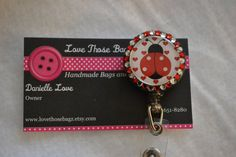 Lady Bug ID Badge Holder $6.00