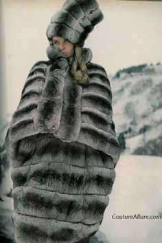 From 1966, Partos uses Emperor Chinchilla to fashion a cape, matching skirt, coiled tall hat and mittens.  Just what every girl needs when wandering through a field of snow.