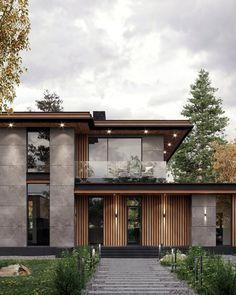 Best Modern House Design, Modern Villa Design, Modern Exterior House Designs, Modern Contemporary Homes, House Front Design, Dream House Exterior, Exterior Design, Exterior Colors, Narrow House Designs