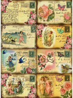 Shabby Vintage Post Cards digital  by SAVVYCOUNTRYDESIGNS on Etsy