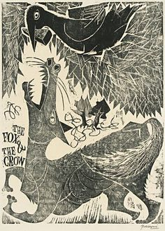 Antonio Frasconi. The fox & the crow: an Aesop's Fable. 1950. woodblock print.
