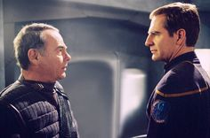 "{ THIS makes my inner Geek SO very happy!! }  ""Detained"" - Scott Bakula (right) is reunited with Dean Stockwell (left) for the first time the since two co-starred in the hit sci-fi series ""Quantum Leap."" In this episode, Captain Jonathan Archer (Bakula) is detained in an internment prison under the leadership of Tandaran military commander Colonel Grat (Stockwell) on ENTERPRISE, to be broadcast on UPN. Photo: Ron Tom/Paramount © 2002/UPN. All Rights Reserved."