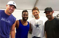 Witten, John David Washington, Romo, and Dezel Washington. Denzel and his son who stars on HBO series Ballers are lifelong Cowboy fans!
