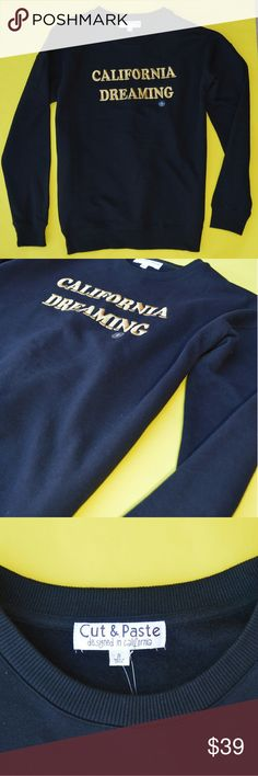California Dreaming Black and Gold Sweatshirt NWT Gorgeous piece from Brand Cut and Paste (Wildfox used for exposure only). Rich black with a nicely stitched gold graphic California Dreamin' logo on front.   Great fit hits at hips. Brand new and perfect! Unique piece and on trend.    Similar to Wildfox Urban Outfitters ASOS American Apparel Crooks and Castles Diamond Supply Co The Buckle Tilly's Pacsun Zumiez hoodie sweatshirt Crewneck crew sweater Adidas Nike Wildfox Sweaters Crew & Scoop…