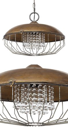 It's a little bit industrial and a little bit glam. This chic Manhattan Pendant Lamp sports glass crystals within an eye-catching metal caged construction. Pour yourself a craft beer and enjoy the ambi...  Find the Manhattan Pendant Lamp, as seen in the Pendants Collection at http://dotandbo.com/category/lighting/chandeliers-and-pendants/pendants?utm_source=pinterest