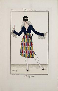 """A female harlequin masquerade costume from Le Journal des Dames et des Modes, 1914."""
