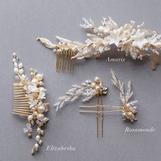 A-collection-of-gold-bridal-hair-pieces.jpg (700×700)