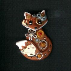 Steampunk Red Fox Pin Brooch Polymer Clay Jewelry by Freeheart1, $26.00