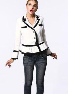 Morpheus Boutique  - White Black Stripe Long Sleeve Flare Sleeve Pleated Hem Jacket