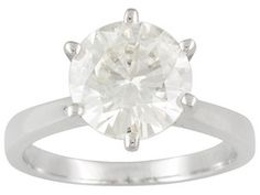 Moissanite Fire(Tm) 3.10ct Diamond Equivalent Weight Round Platineve(Tm) Solitaire Ring Eav $1,250.