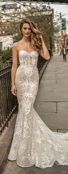 berta spring 2018 bridal strapless sweetheart neckline full embellishment bustier bodice sexy fit and flare wedding dress medium train (10) mv -- Berta Spring 2018 Wedding Dresses
