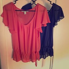 Donating Last Chance⚡️2 F21 Sheer Butterfly Tops M Need to make room in my closet - going for donation!! 2 sheer butterfly tops from Forever 21. Coral and navy size medium. Worn each a few times. Elasticized bottom with cute tie. Got compliments every time I wore them!! Forever 21 Tops Blouses