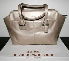 Coach Taylor Leather Alexis Carryall Tote Handbag Champagne Silver F25205   eBay
