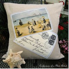 Frenchy Beach Postcard Pillow