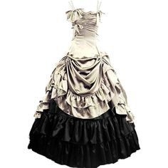 Partiss Womens Gothic Victorian Ruffles Prom Lolita Dress ($90) ❤ liked on Polyvore featuring dresses, white victorian dress, prom dresses, frilly dresses, gothic dresses and white dress