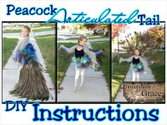 Pretty Peacock Princess (with real working peacock tail) - Halloween Costume Articulated tail! DIY instructions and tech support.