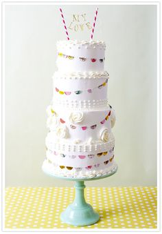 Like the words on the top with pennants around cake. Would do triangles instead of scallops though. #etsy #AFeteBeckons