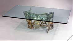 """Ribbon"""" - an authentic Silas Seandel cocktail table (coffee table) executed in a natural cast bronze with a pewter wash Mid Century Dining Table, Dining Room Table, End Tables, Table Bases, Coffee Tables, Cocktail Tables, New Pins, Accent Decor, Design Elements"""