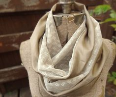 Ivory vintage lace infinity scarf with metallic gold by PaleDesign, $29.00