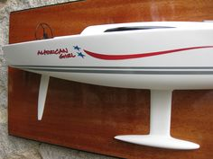 """* This is the 25"""" half hull model of the King 40 / Summitt 40 designed by Mark Mills.  The model is mounted on the Mahogany backboard. The size of the backboard is 30"""" x 13.5"""". The model weight is 11 LBS. ................... Please contact Mas at halfhull@gmail.com or visit the web at www.halfhull.net for more model information. Zuma Boat"""