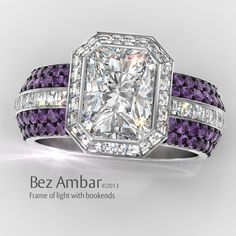 The Frame of Light engagement ring with two row bookend bands and Blaze® cut diamonds #blazecutdiamonds #diamondjewelry  www.bezambar.com