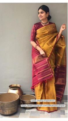 Silk Saree Blouse Designs, Saree Blouse Patterns, Bridal Blouse Designs, Saree Poses, Bridal Silk Saree, Designer Silk Sarees, Stylish Blouse Design, Saree Photoshoot, Saree Trends