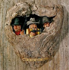 """"""" Hole in the wall gang """" , carved by Gene Zesch"""