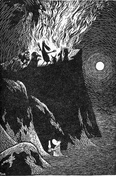 Tove Jansson's illustration (I love how cute she made that little moomin). Tove Jansson, Les Moomins, Illustrator, Poesia Visual, Art Manga, Arte Obscura, Scratchboard, Black And White Illustration, Norse Mythology