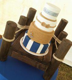Nautical Themed wedding Cake by Cakery Creation Nautical Wedding Cakes, Nautical Cake, Round Wedding Cakes, Themed Wedding Cakes, Nautical Party, Wedding Cakes With Cupcakes, Fun Cupcakes, Themed Cakes, Cupcake Cakes
