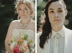 Coordinating jewellery can tie two outfits together. | 23 Super Cute Lesbian Wedding Ideas