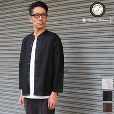 画像1: 綿麻キャンバスマオカラー9分袖ライト_jacket【MADE IN JAPAN】『日本製』/ Upscape Audience