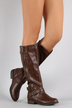 Bamboo Buckle Zipper Round Toe Riding Knee High Boots Low Heels 4f72dac53508