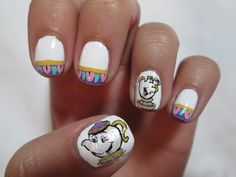 Beauty and the Beast's Mrs. Pots and Chip Nail Art
