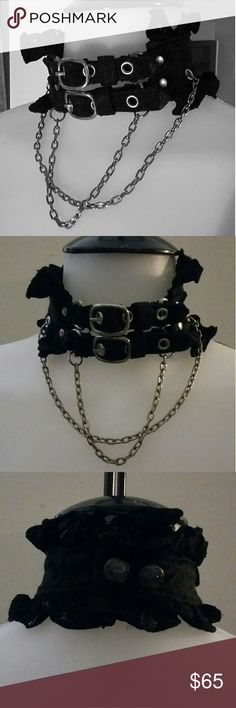 H. Naoto HN+Nois Choker Collar Purchased In Tokyo Lovely collar or choker. I purchased this from H. Naoto in Tokyo. I went to every one of his designer store locations, and purchased from each! This came from a Harajuku location. Never worn. Just loved it. Has lace, chains and a nice brocade w subtle shine design. Adjustable front and 2 snap closures. You will not find another. This item was in that stores location only, and from the 2008 design line. H. Naoto  (H.N+Nois) Jewelry Necklaces
