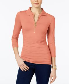 Michael Michael Kors Petite Ruched Polo Top